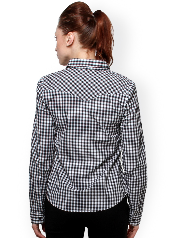 Myntra XnY Women Black & White Checked Shirt 754719 | Buy ...