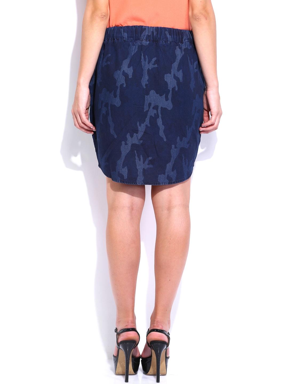 myntra noble faith navy printed denim high low skirt