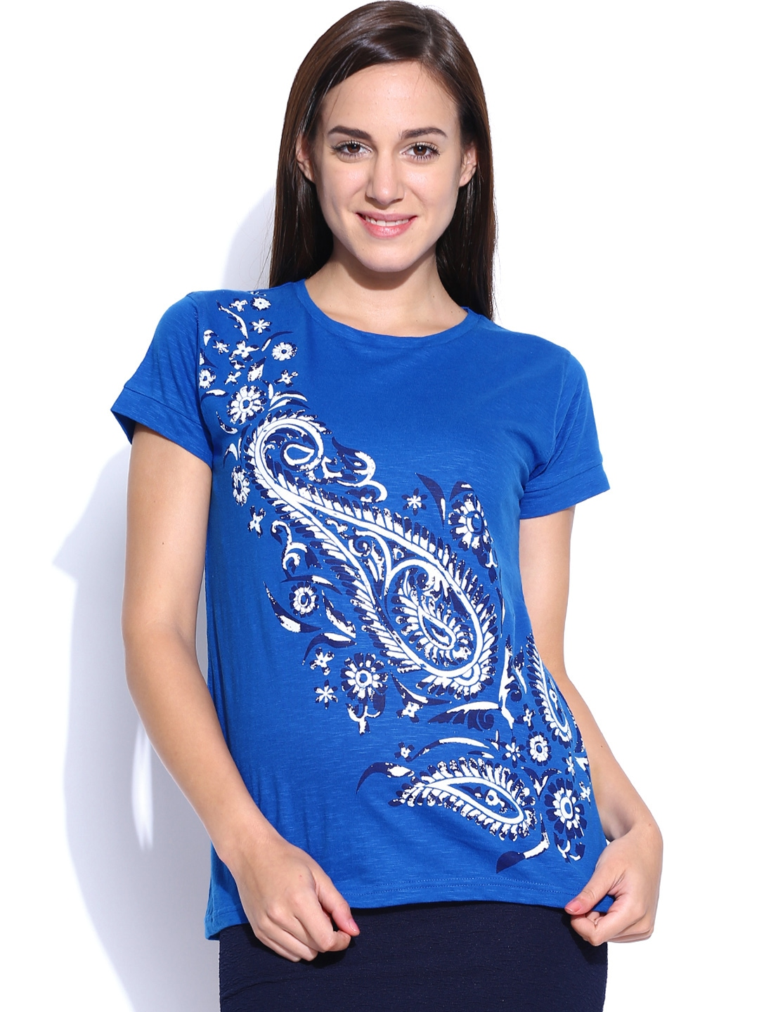 Myntra tokyo talkies women blue printed t shirt 756564 for Online printed t shirts