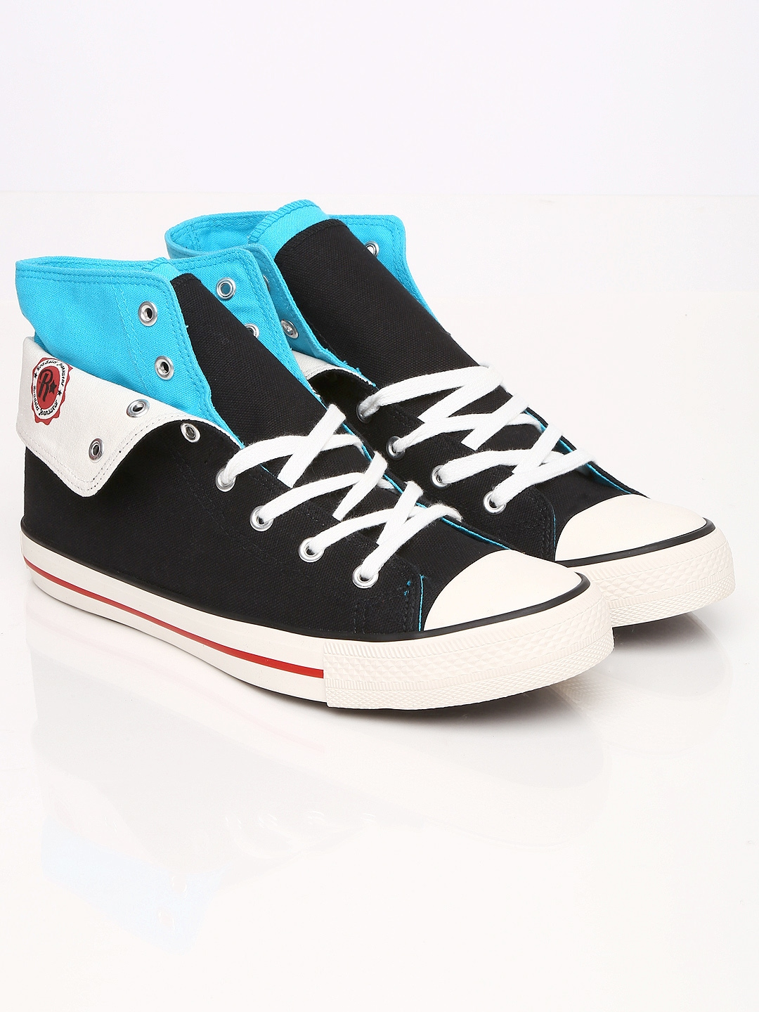 myntra roadster black white mid top casual shoes