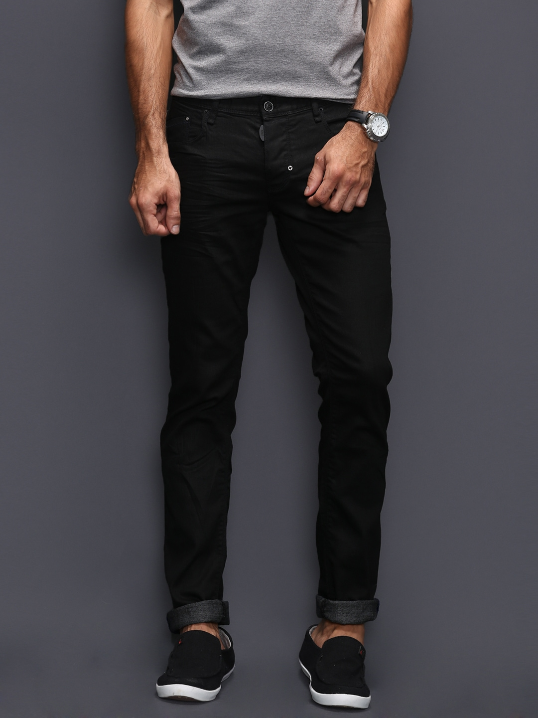 Mens Slim Fit Black Jeans - Jeans Am