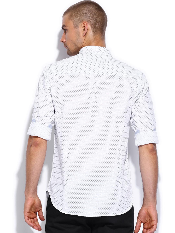 Myntra british club white blue printed linen slim fit for Slim fit white linen shirt