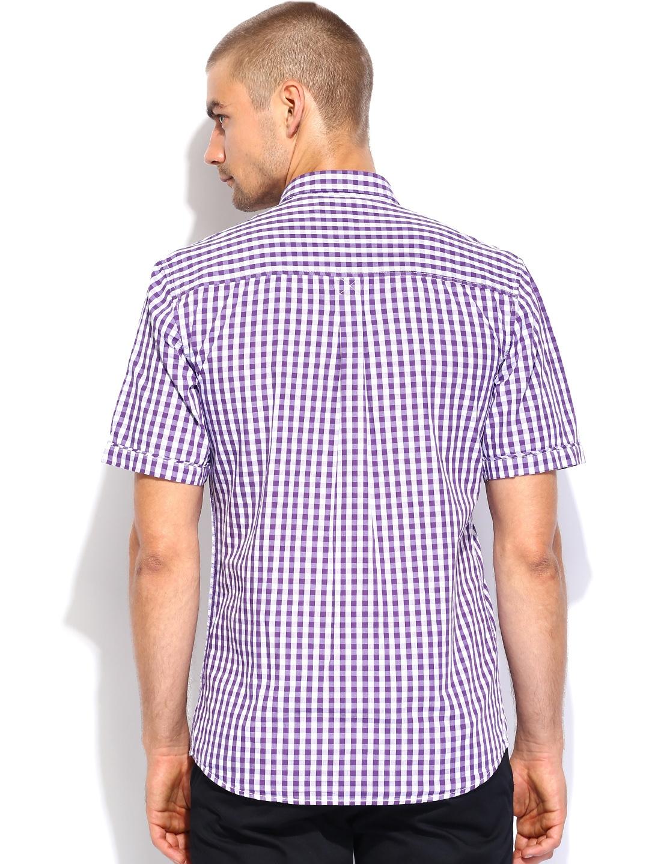 Myntra british club purple white checked slim fit casual for Purple and white checked shirt