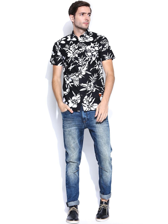 Myntra Status Quo Men Black White Linen Printed Casual Shirt 761116 Buy Myntra Status Quo