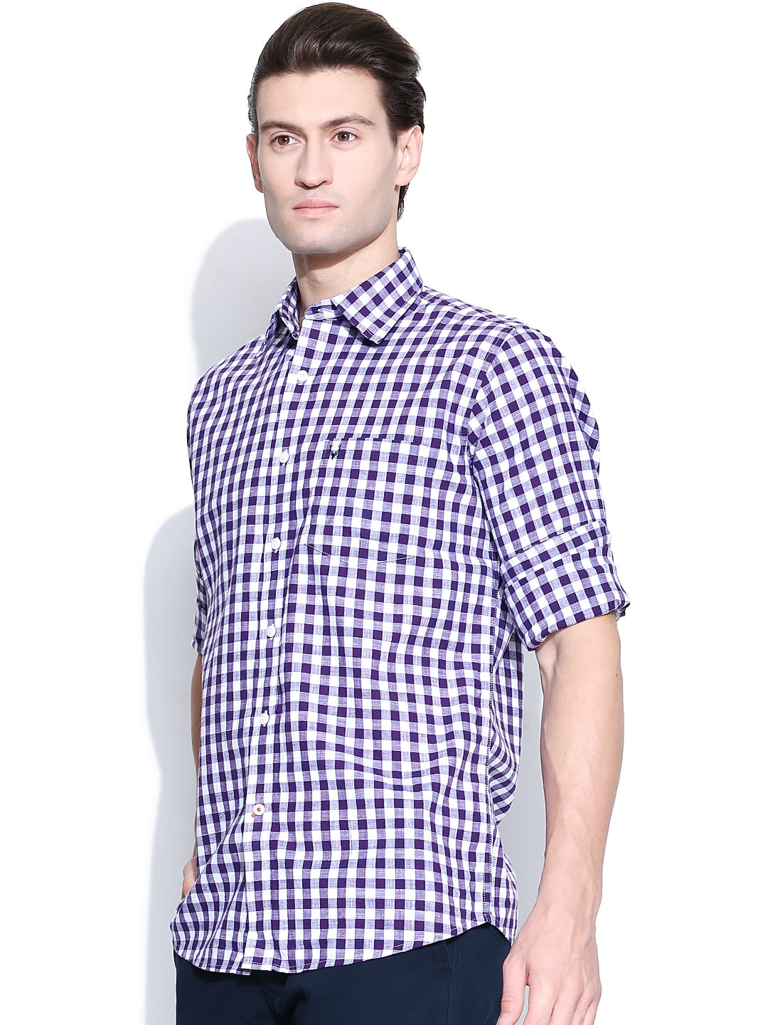 Myntra allen solly men purple white gingham checked for Purple and white checked shirt