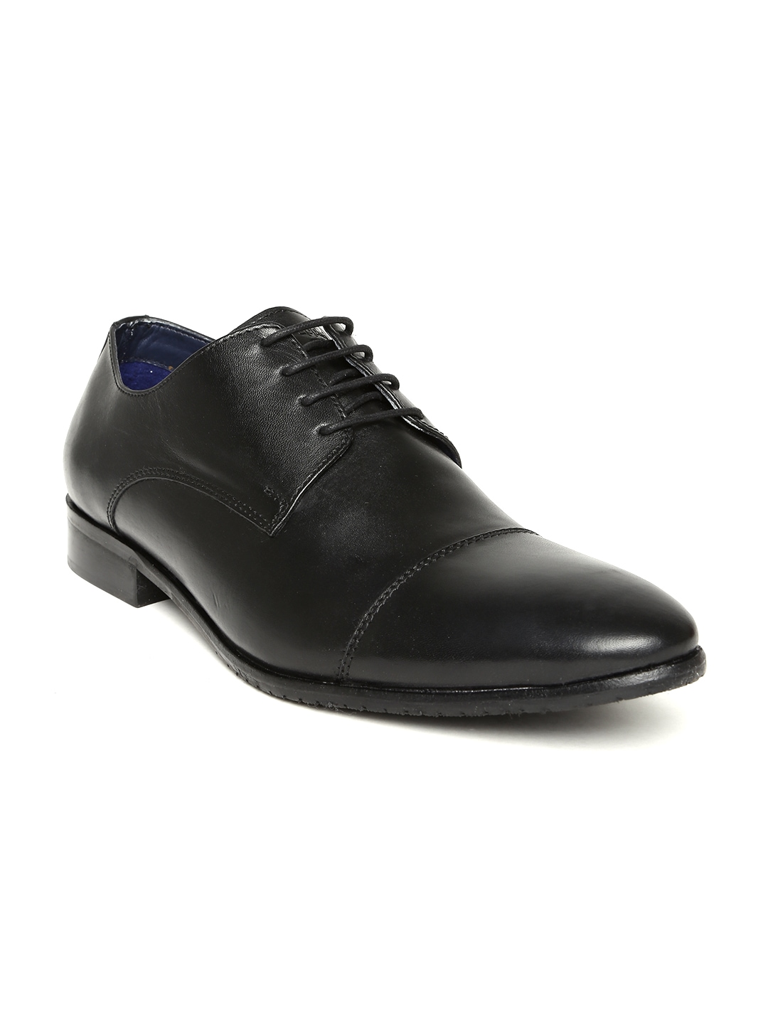myntra hush puppies by bata black leather formal shoes