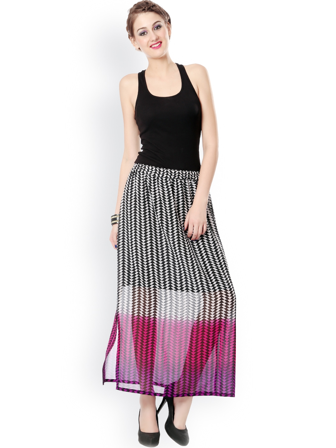 myntra glam and luxe black pink printed maxi skirt