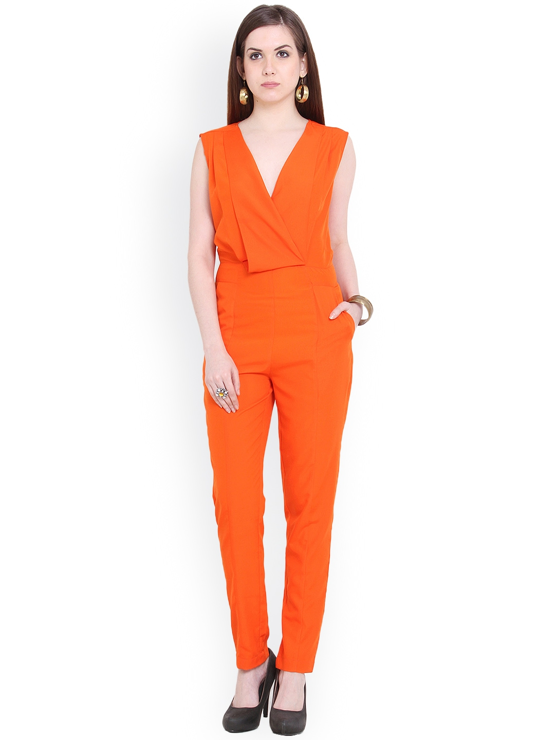 Innovative Asos Collection Asos Pleated Bust Jumpsuit In Orange  Lyst