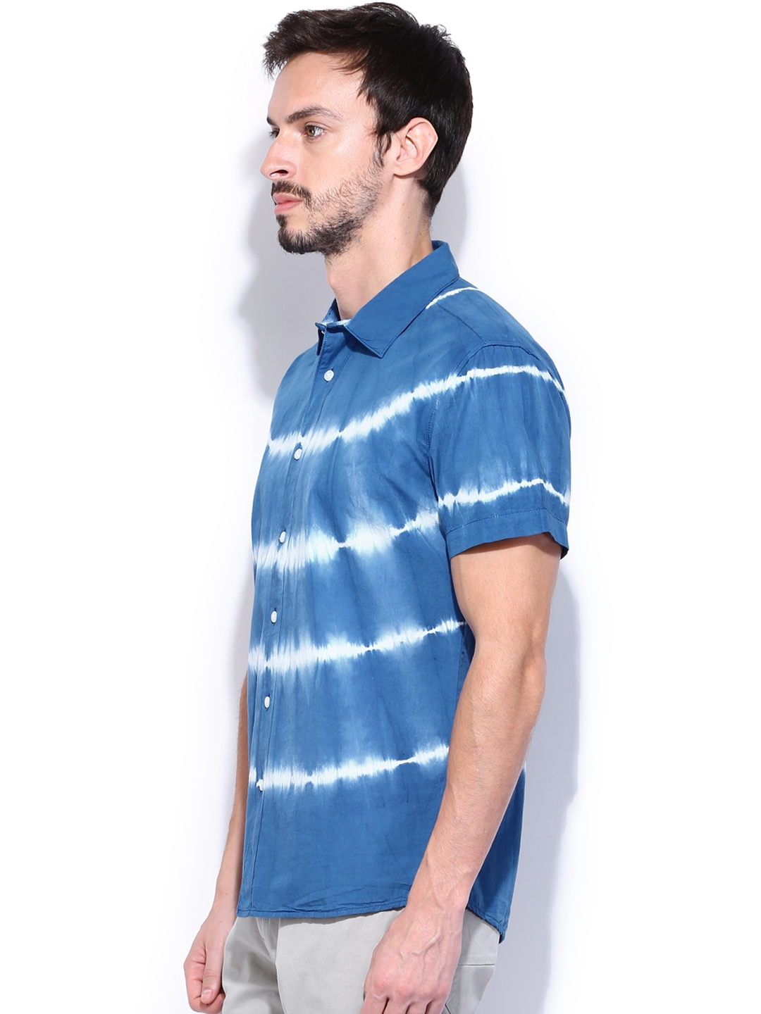 Myntra people men blue tie dye printed slim fit casual for Casual shirt and tie