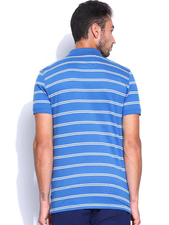 Myntra people men blue white striped polo t shirt 765648 for Blue white striped t shirt