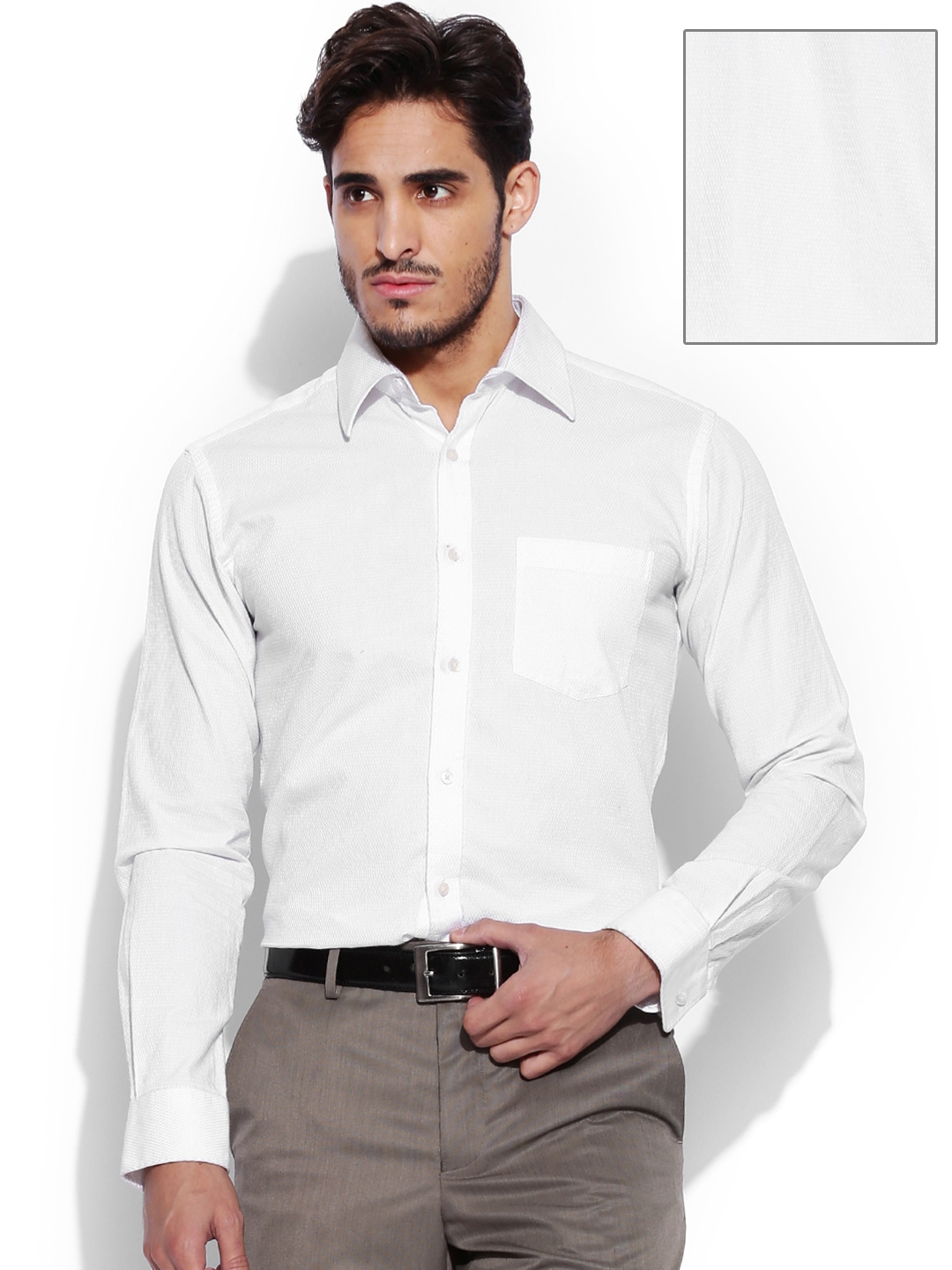 Myntra van heusen men white striped custom fit formal for Boys white formal shirt