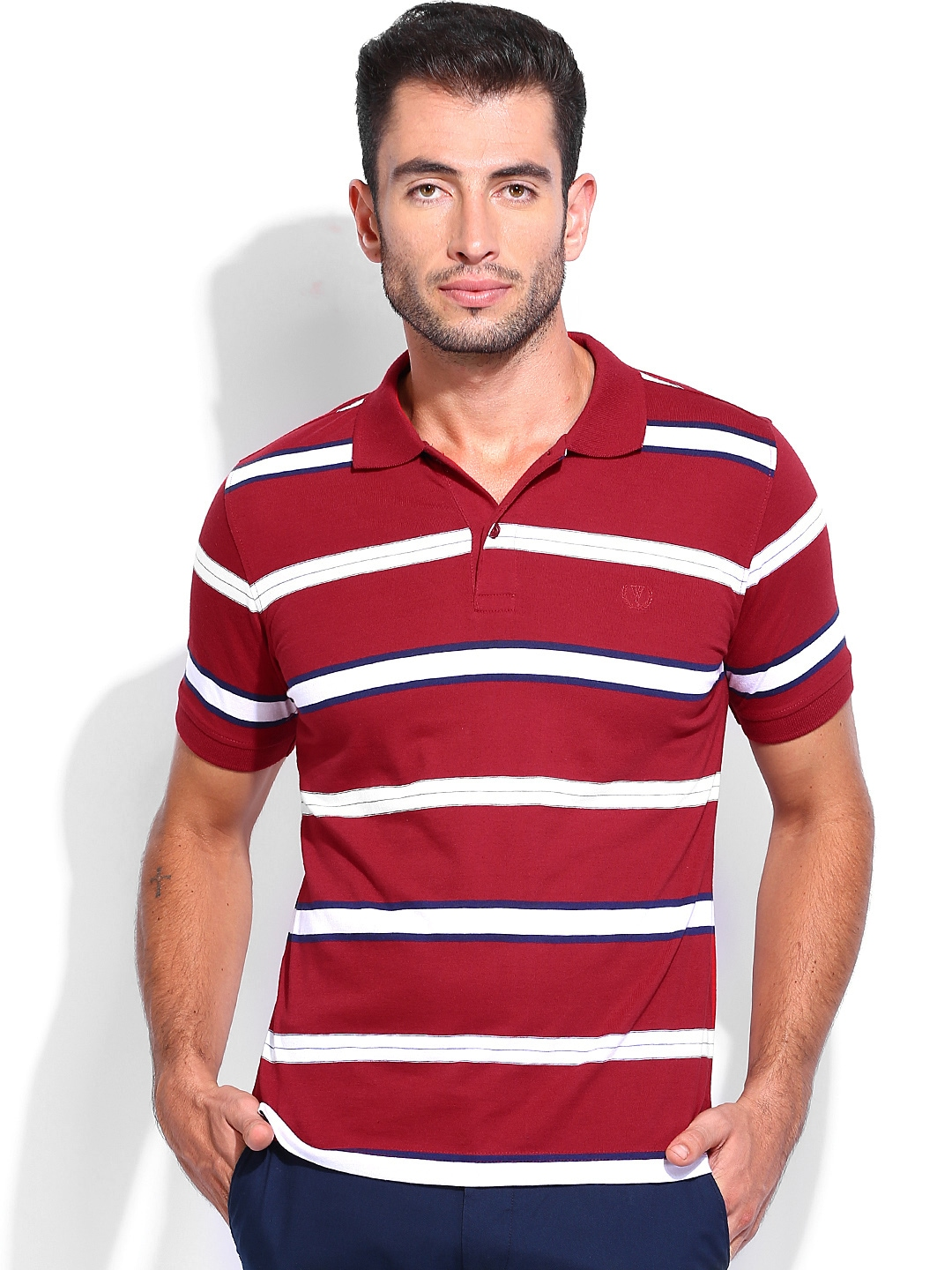 Myntra van heusen men red white striped polo t shirt for Red white striped polo shirt