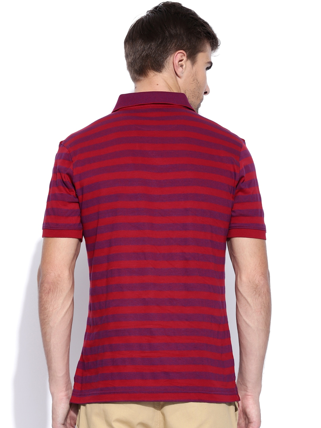 Myntra van heusen men red purple striped polo t shirt for Purple and black striped t shirt
