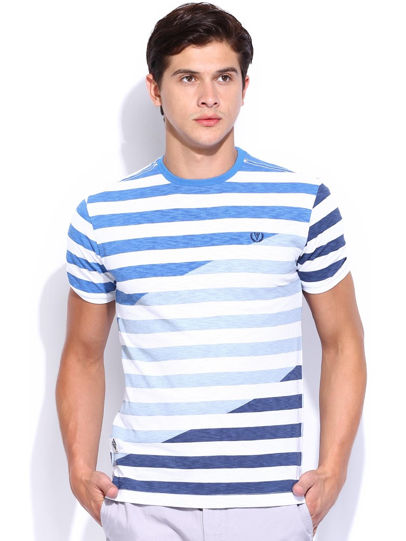 Myntra van heusen sport men blue white striped t shirt for Blue white striped t shirt