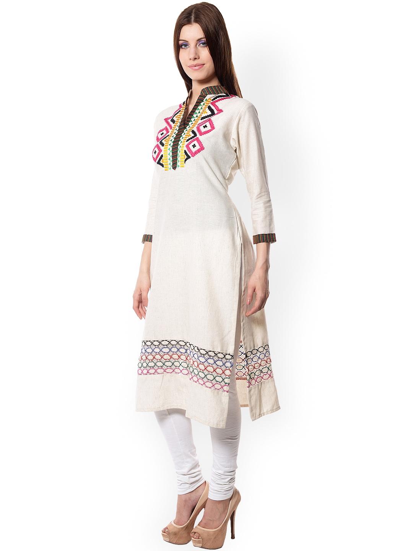 Myntra Navriti Women OffWhite Embroidered Kurta 768245