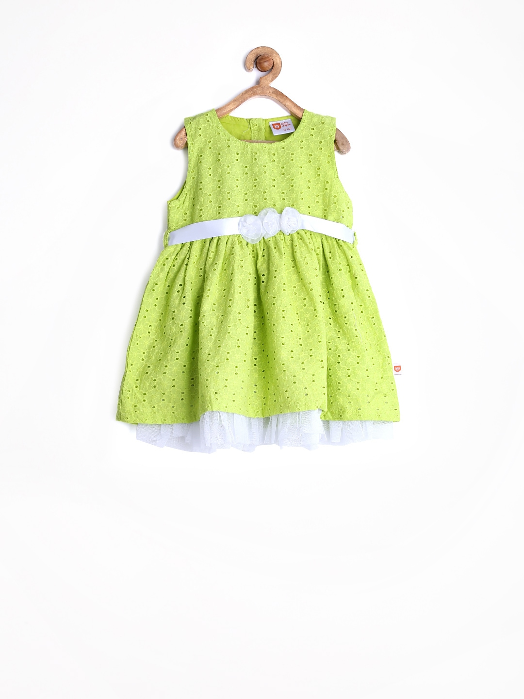 Myntra Baby League Girls Light Green Schiffli Embroidered