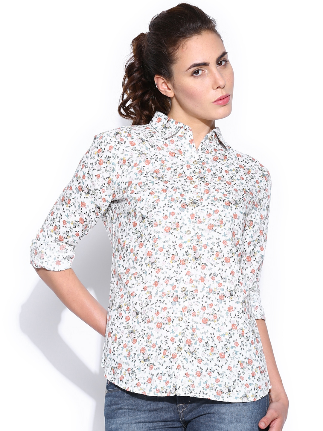 Myntra u s polo assn women white linen floral printed for White floral shirt womens