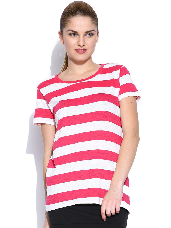 Myntra allen solly woman pink white striped t shirt for Pink white striped shirt
