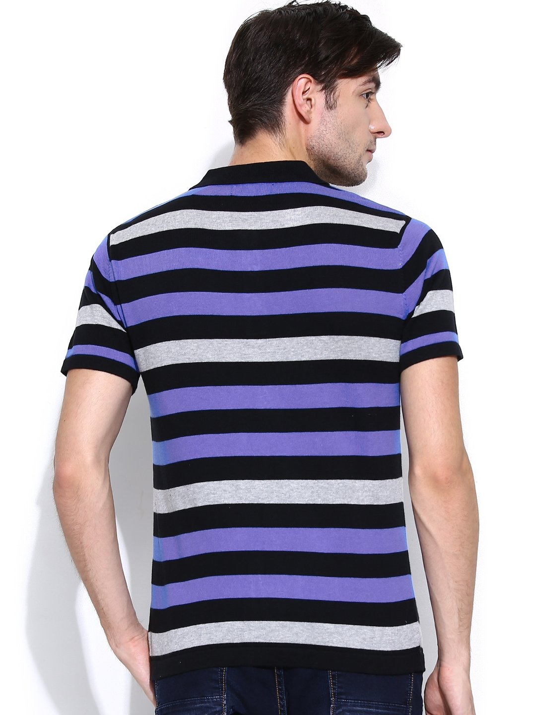 Myntra fort collins men black purple striped polo t for Purple and black striped t shirt