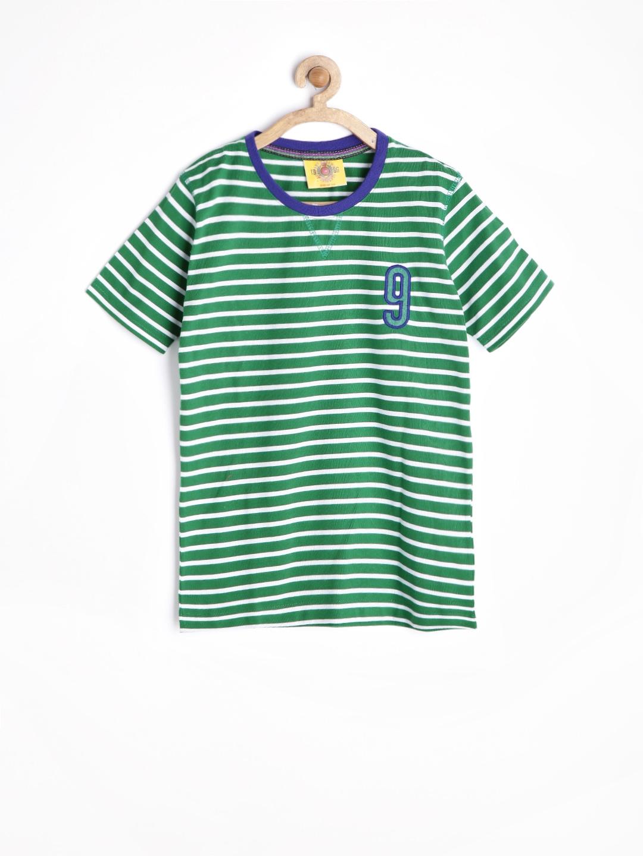 Myntra duke boys green white striped t shirt 772830 for Best striped t shirt