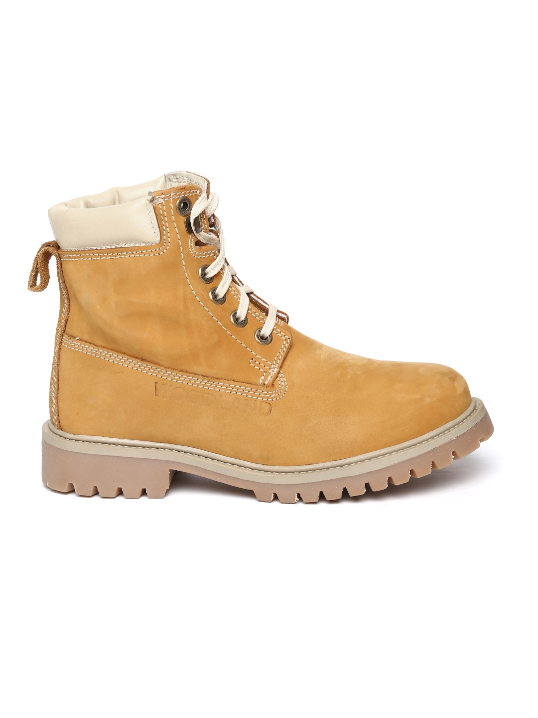 Myntra Woodland Men Mustard Yellow Suede Boots 772946 ...