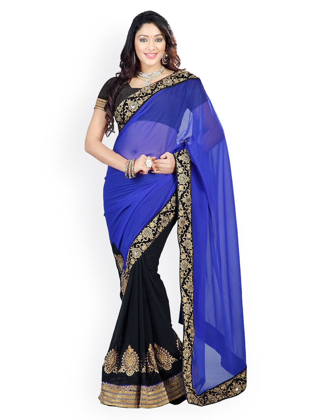 Myntra florence blue black embroidered chiffon fashion