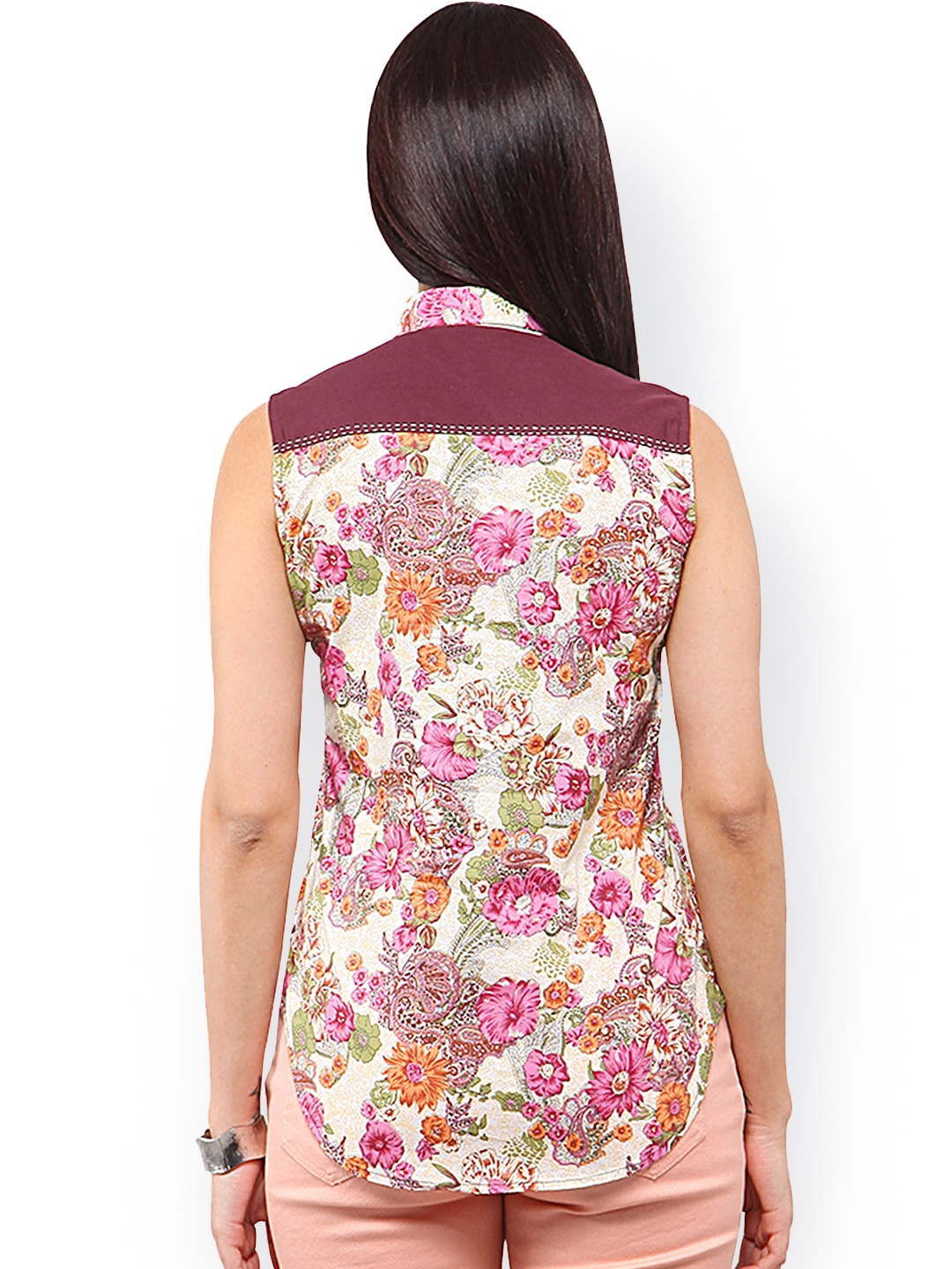Myntra yepme women pink off white floral printed shirt for White floral shirt womens