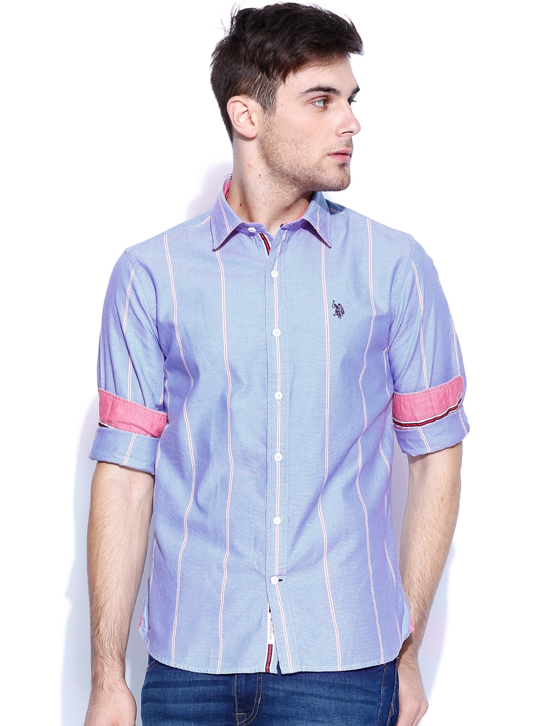 Myntra U S Polo Assn Blue Striped Tailored Fit Casual