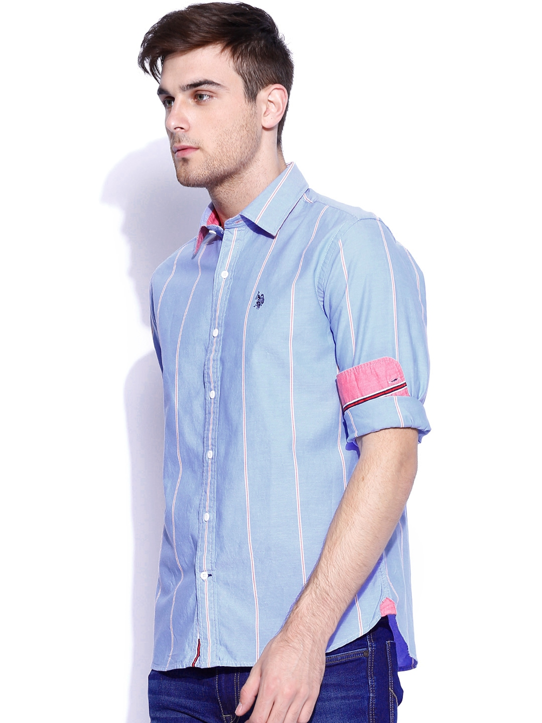 Myntra u s polo assn blue striped tailored fit casual for Tailor dress shirt cost