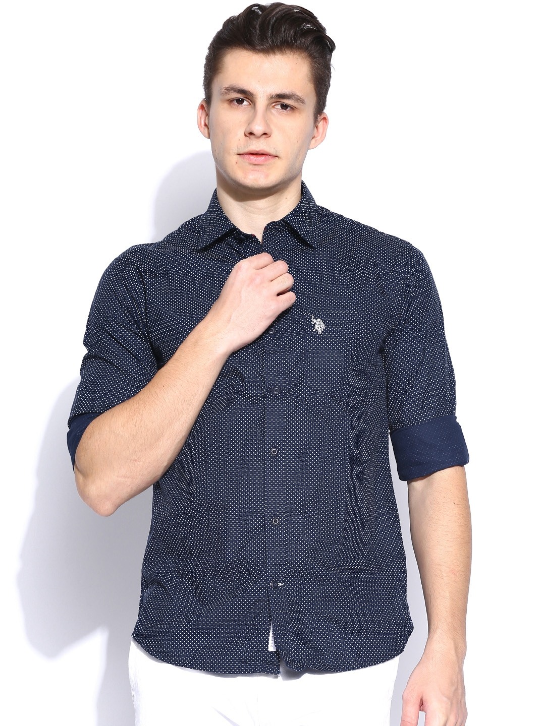 Myntra U S Polo Assn Navy Printed Tailored Fit Casual