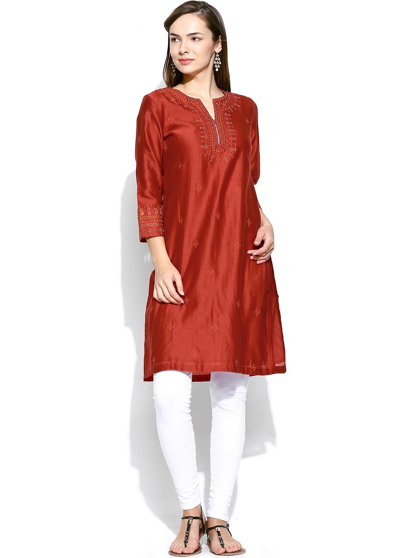 Myntra Fabindia Women Red Chanderi Silk Embroidered Kurta