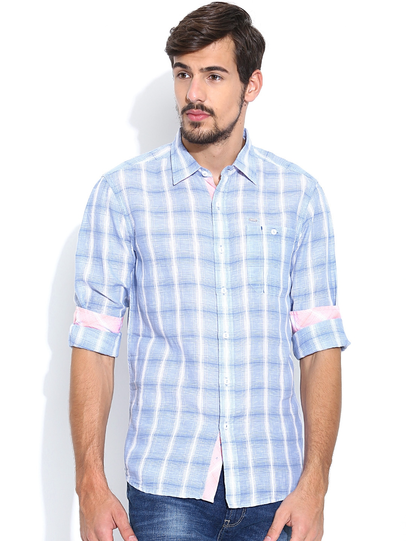 Myntra lee men light blue white checked linen charlie for Mens light blue linen shirt