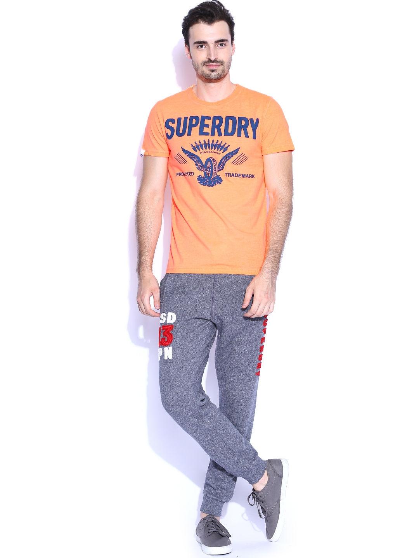 Myntra Superdry Men Neon Orange Printed T Shirt 779160