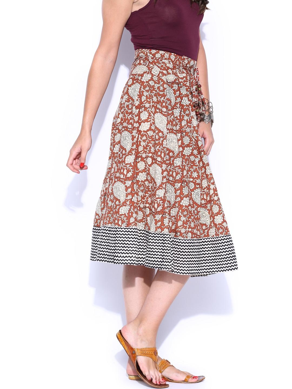 myntra folklore maroon beige printed midi skirt 779564