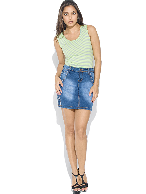 Myntra Globus Blue Washed Denim Mini Skirt 781765