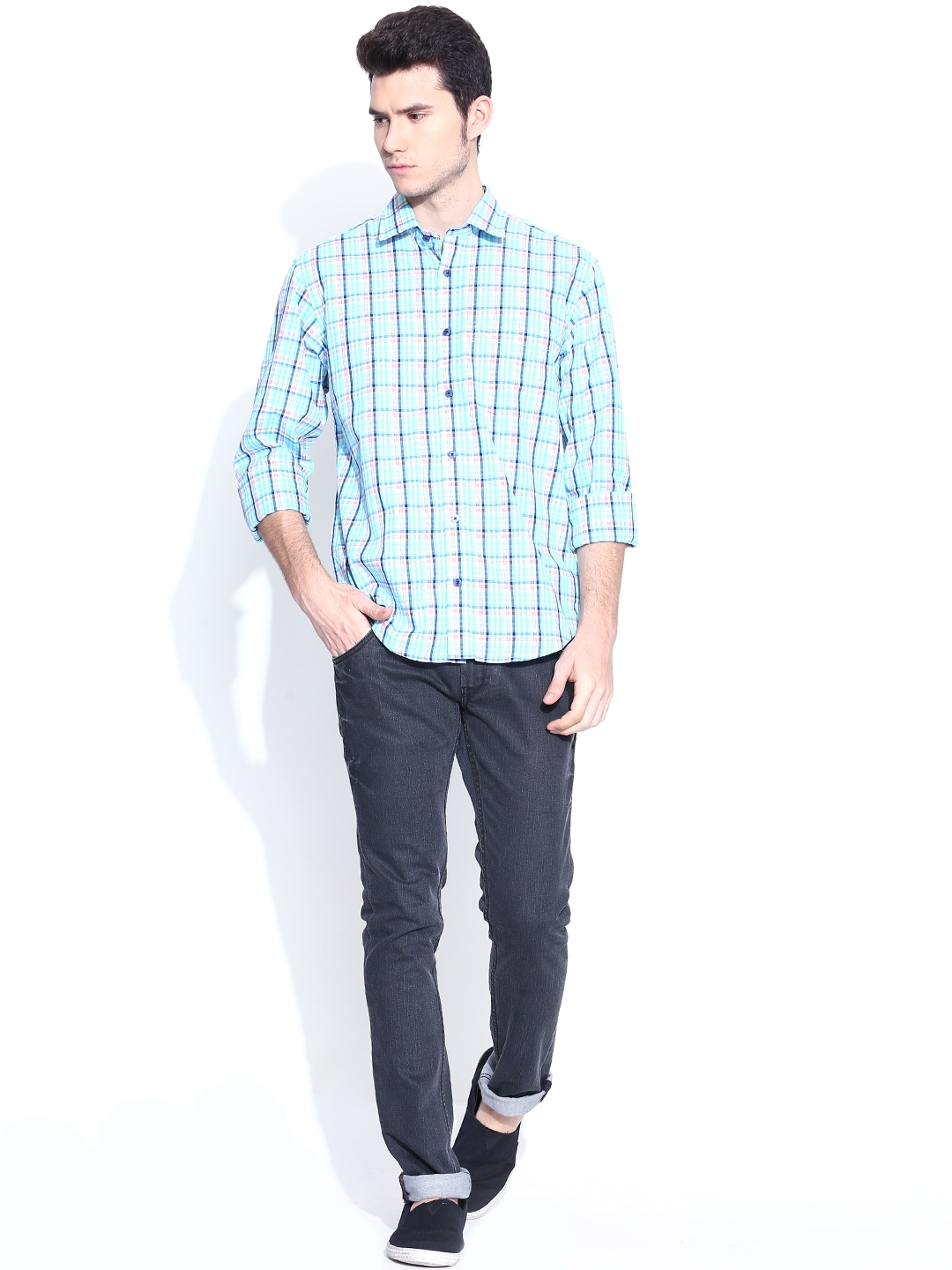 Myntra colorplus multicoloured checked tailored fit casual for Tailor dress shirt cost