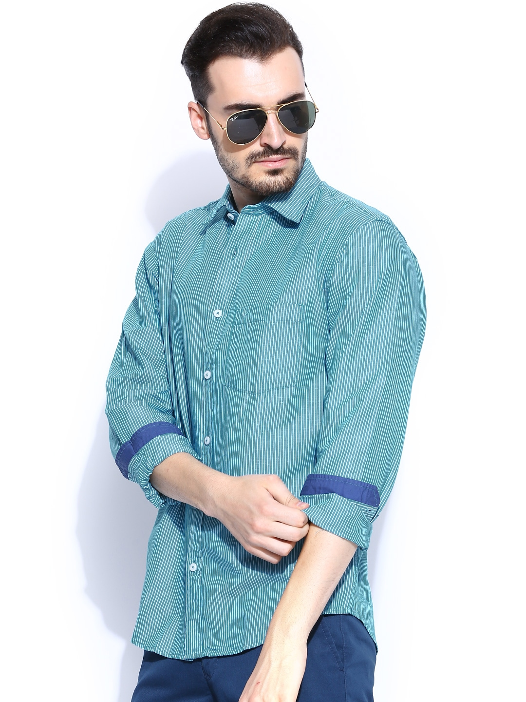 Myntra Colorplus Teal Green Off White Striped Tailored