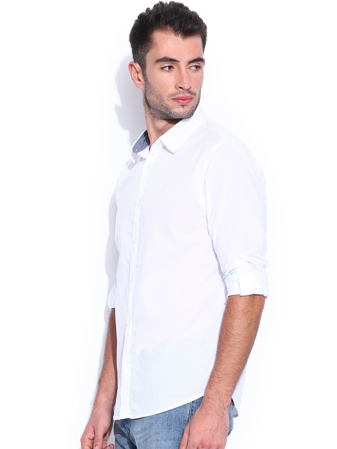 Myntra Guess White Slim Fit Casual Shirt 783443 Buy