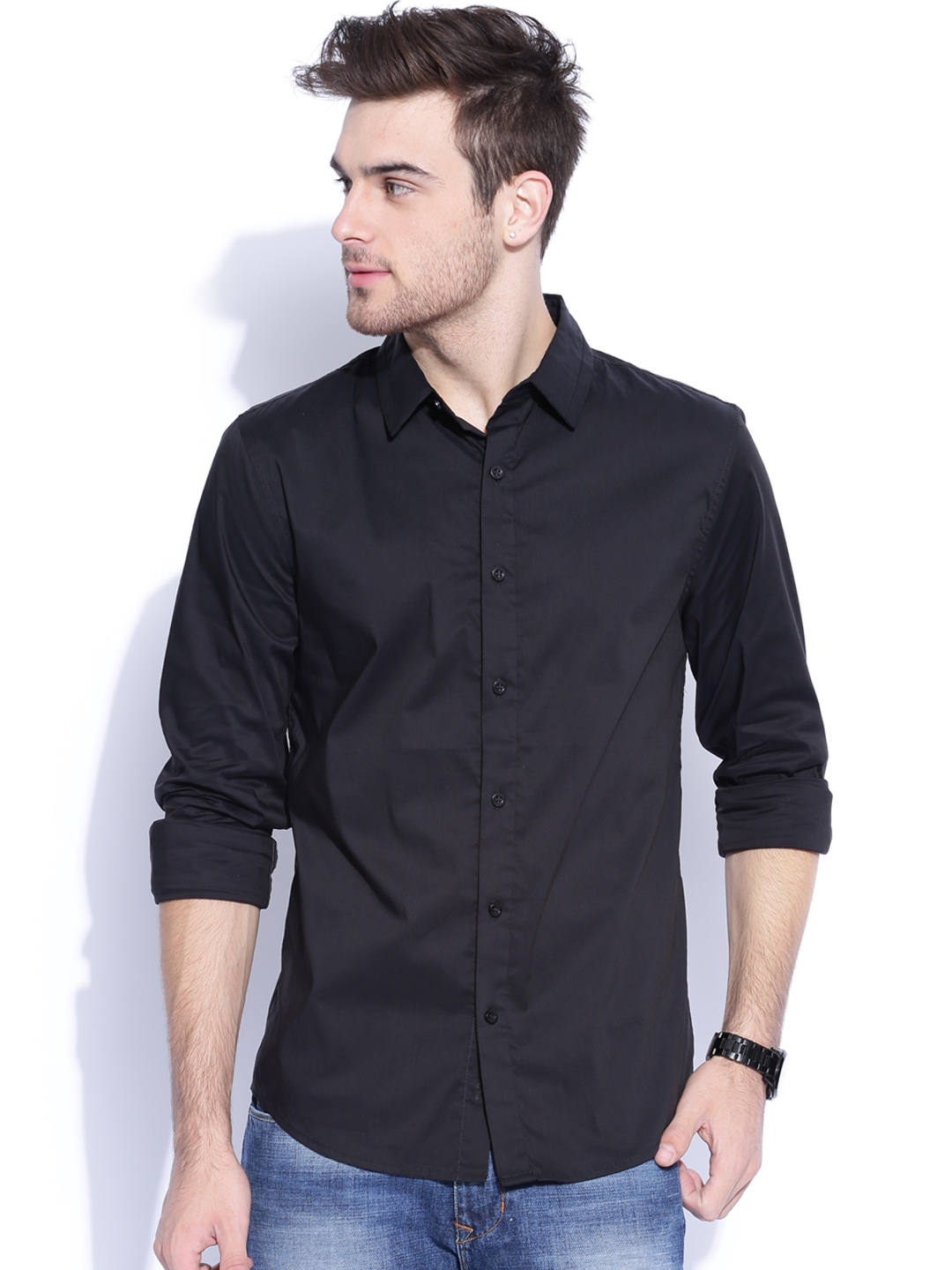 Myntra Guess Black Slim Fit Smart Casual Shirt 783487