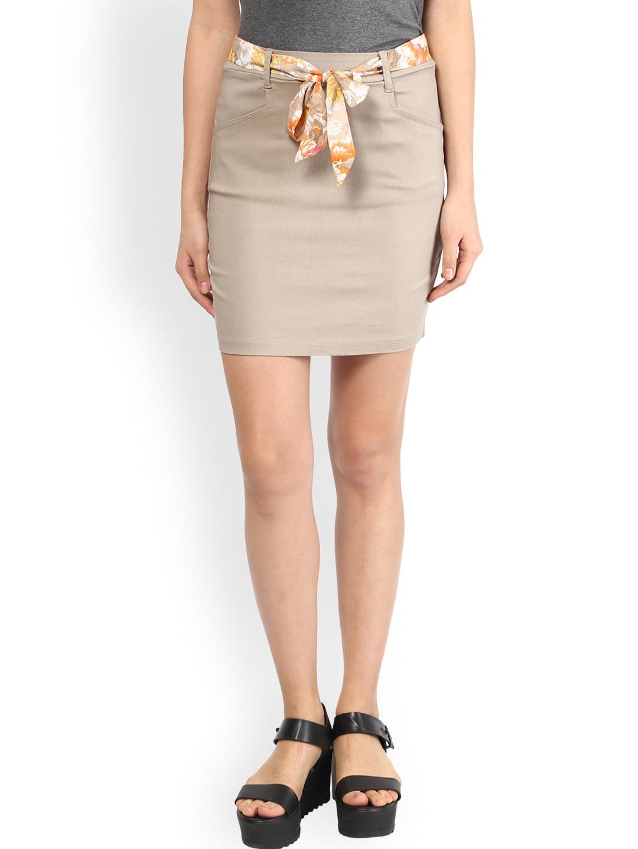 myntra the vanca beige pencil skirt 784496 buy myntra