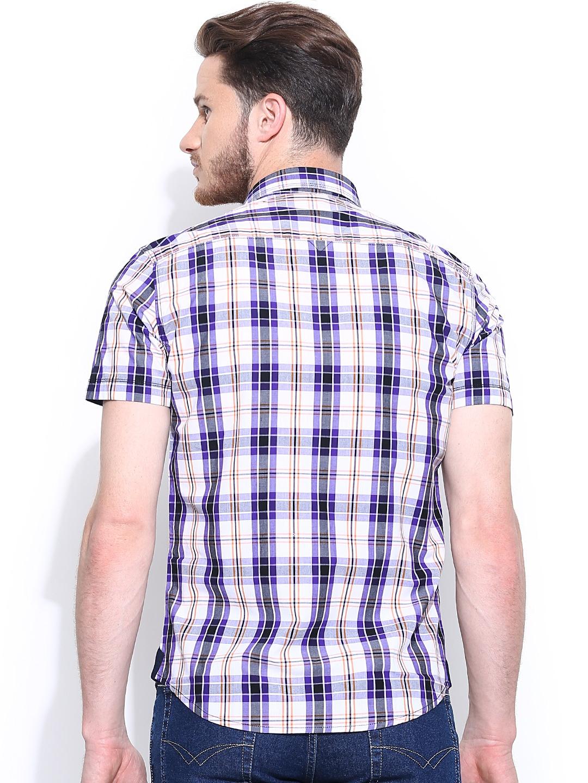 Myntra Nu Eco Men Purple White Checked Casual Shirt