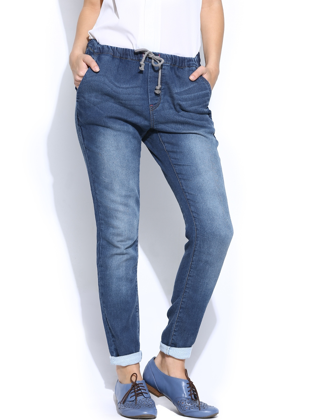 myntra vero moda blue jogger fit jeans 786184 buy myntra vero moda jeans at best price online. Black Bedroom Furniture Sets. Home Design Ideas