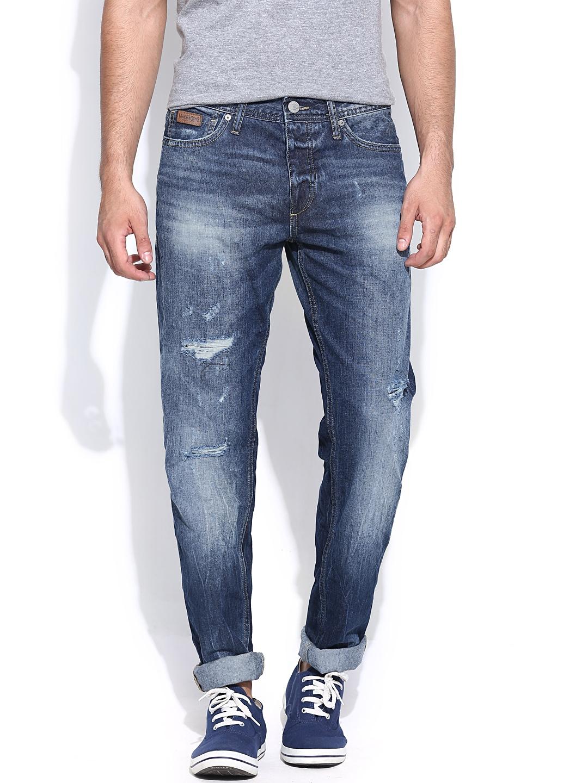 myntra jack jones distressed comfort fit jeans 786440 buy myntra jack jones jeans at best. Black Bedroom Furniture Sets. Home Design Ideas