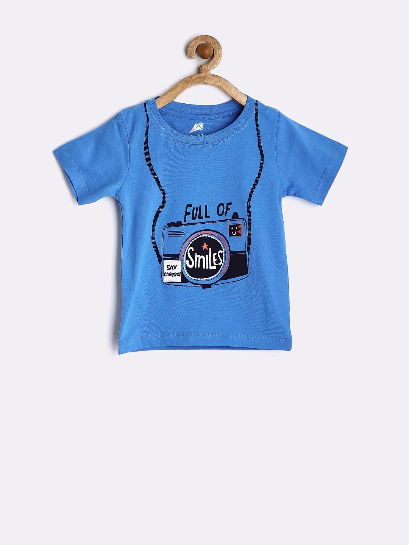 Myntra yellow kite boys blue printed t shirt 787089 buy for Boys printed t shirts