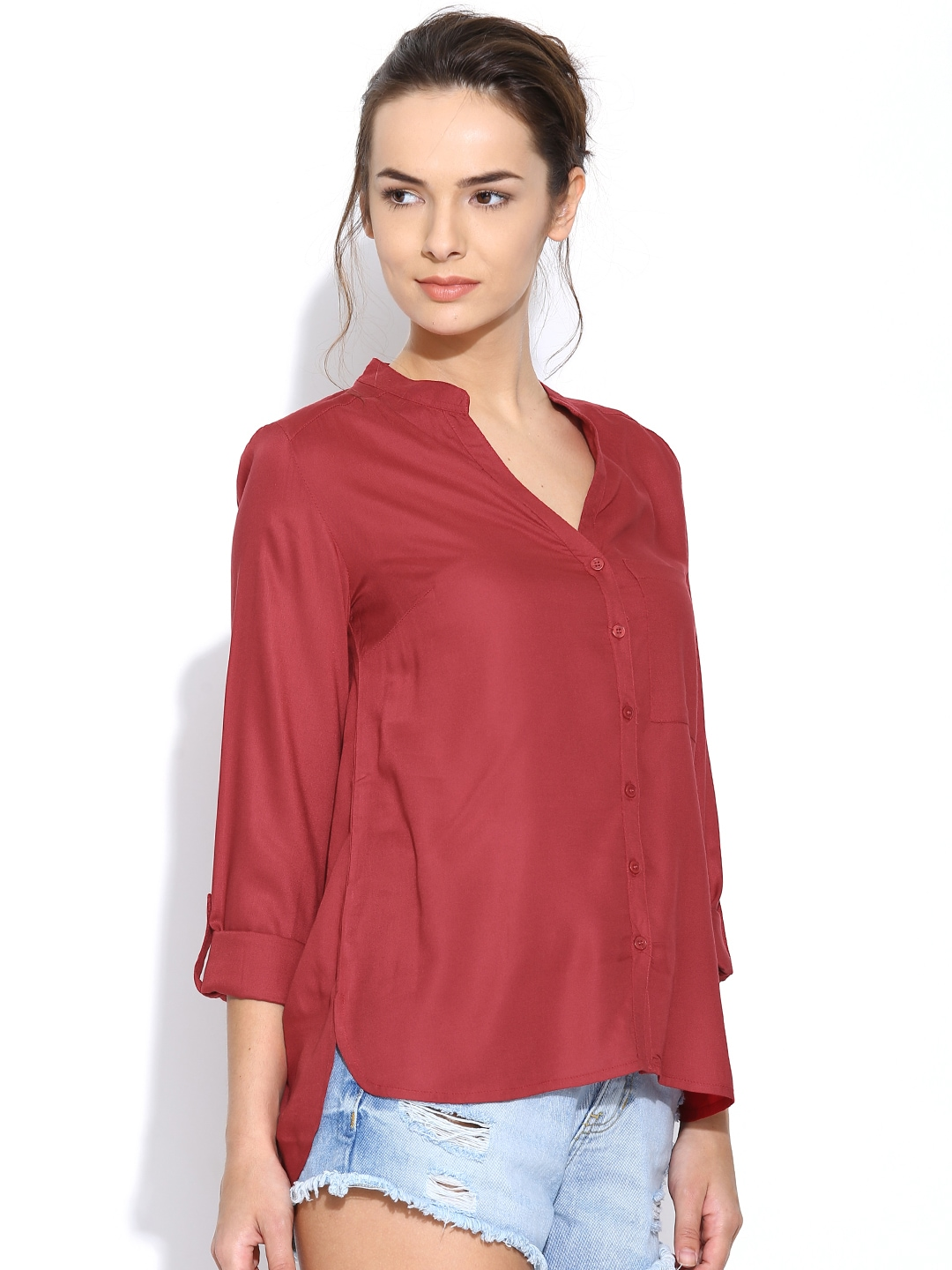 Myntra silly people women maroon shirt 787681 buy myntra for Shirts online shopping lowest price