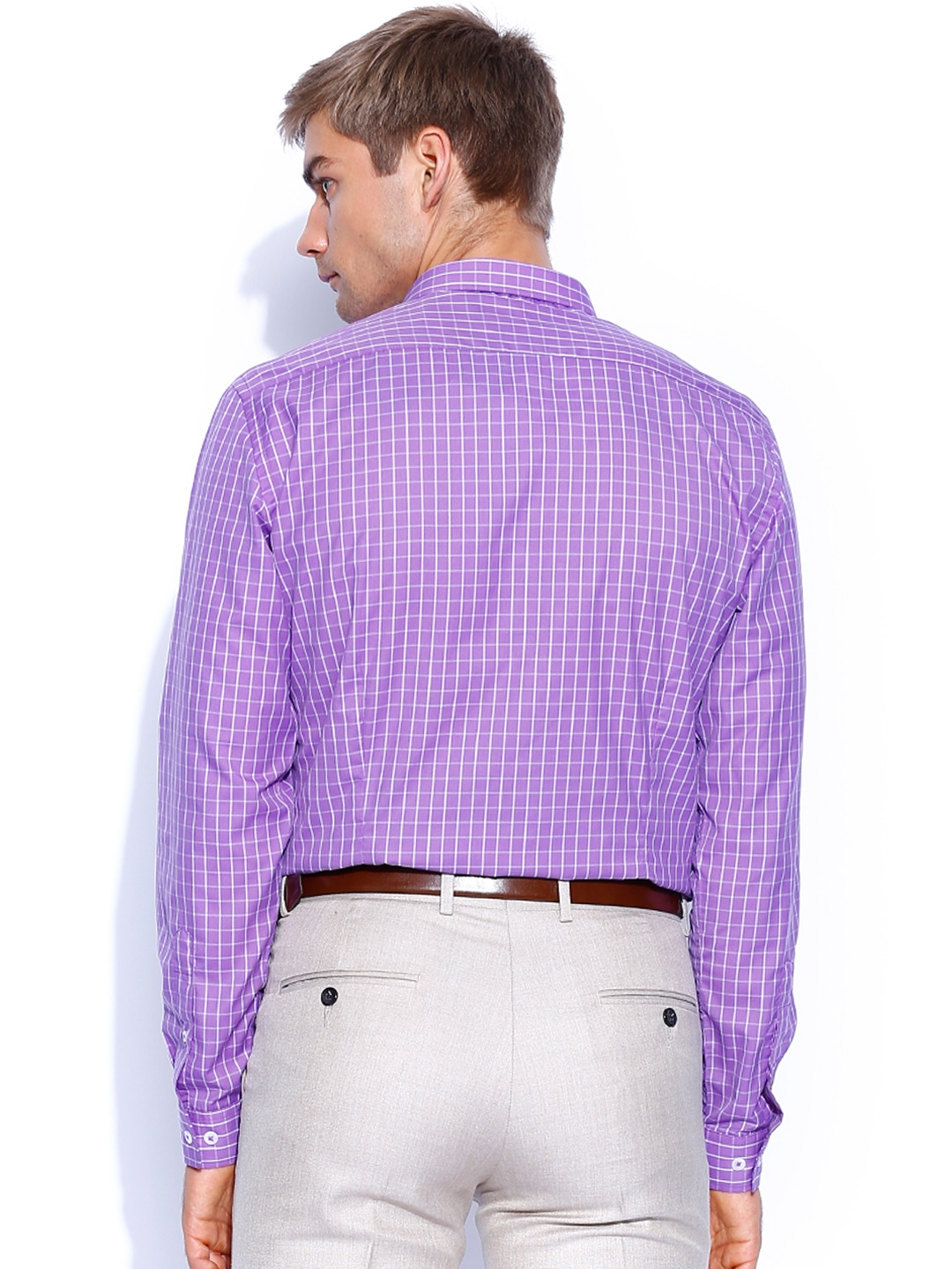 Myntra Independence Men Purple White Checked Slim Fit