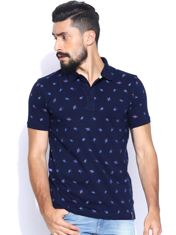 Myntra Locomotive Navy Printed Polo T Shirt 789586 Buy