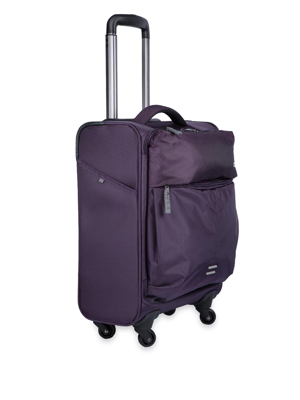 myntra american tourister unisex purple medium trolley bag