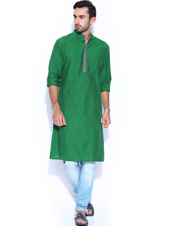 Myntra fabindia green hand embroidered kurta buy