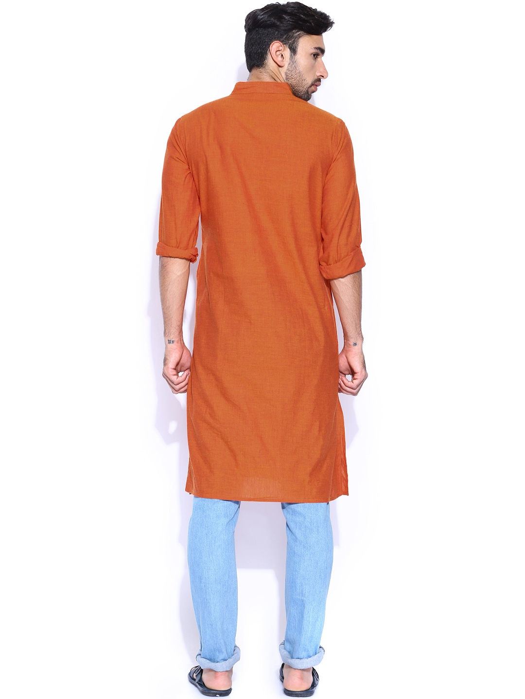 Myntra fabindia orange hand embroidered kurta buy